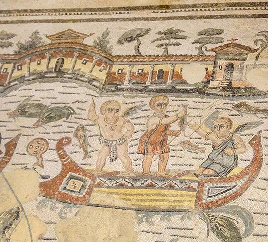 Voir la Mosaïque de la Villa Romana del Casal avec son groupe en Sicile