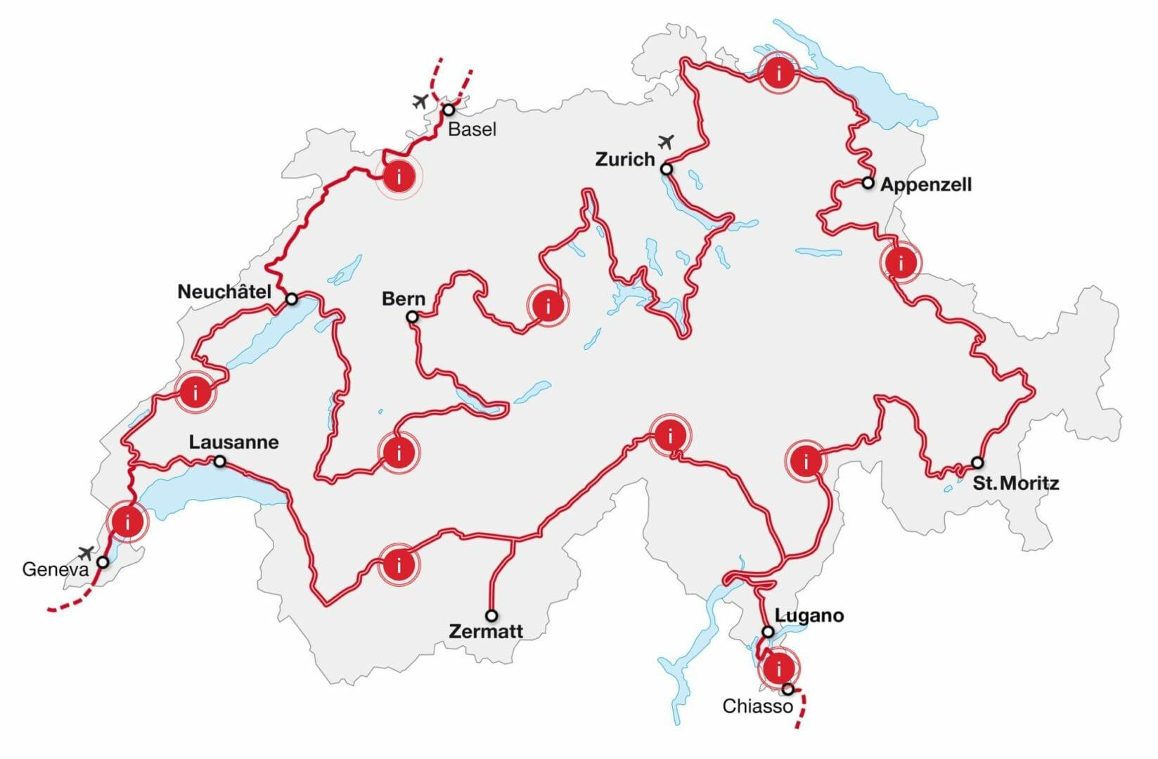 Carte Grand Tour de Suisse