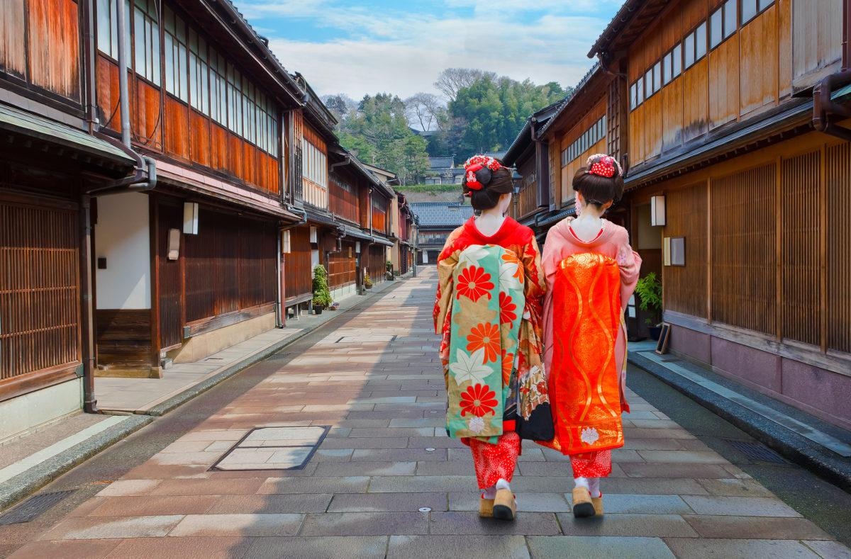 Geisha japonais à Higashi-Chaya-gai - district de Geisha à Kanazawa, Japon