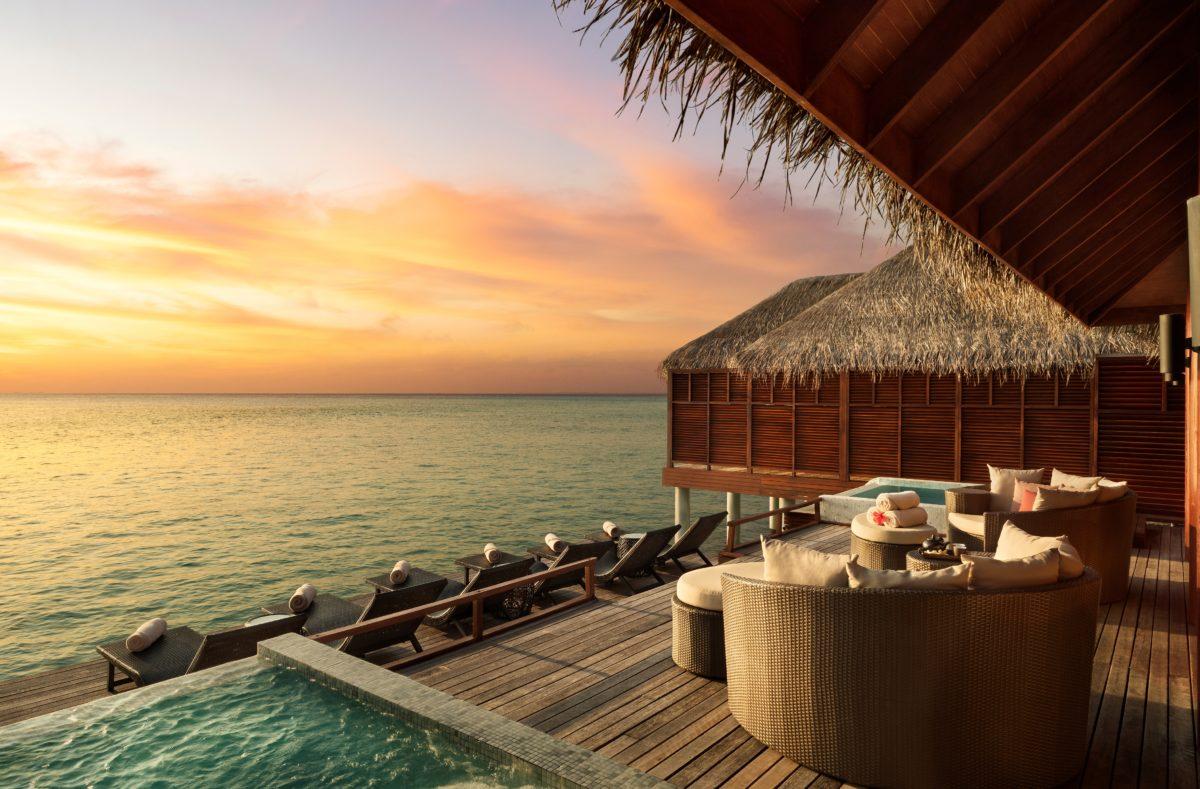 Coucher de soleil au Anantara Dhigu Maldives Resort