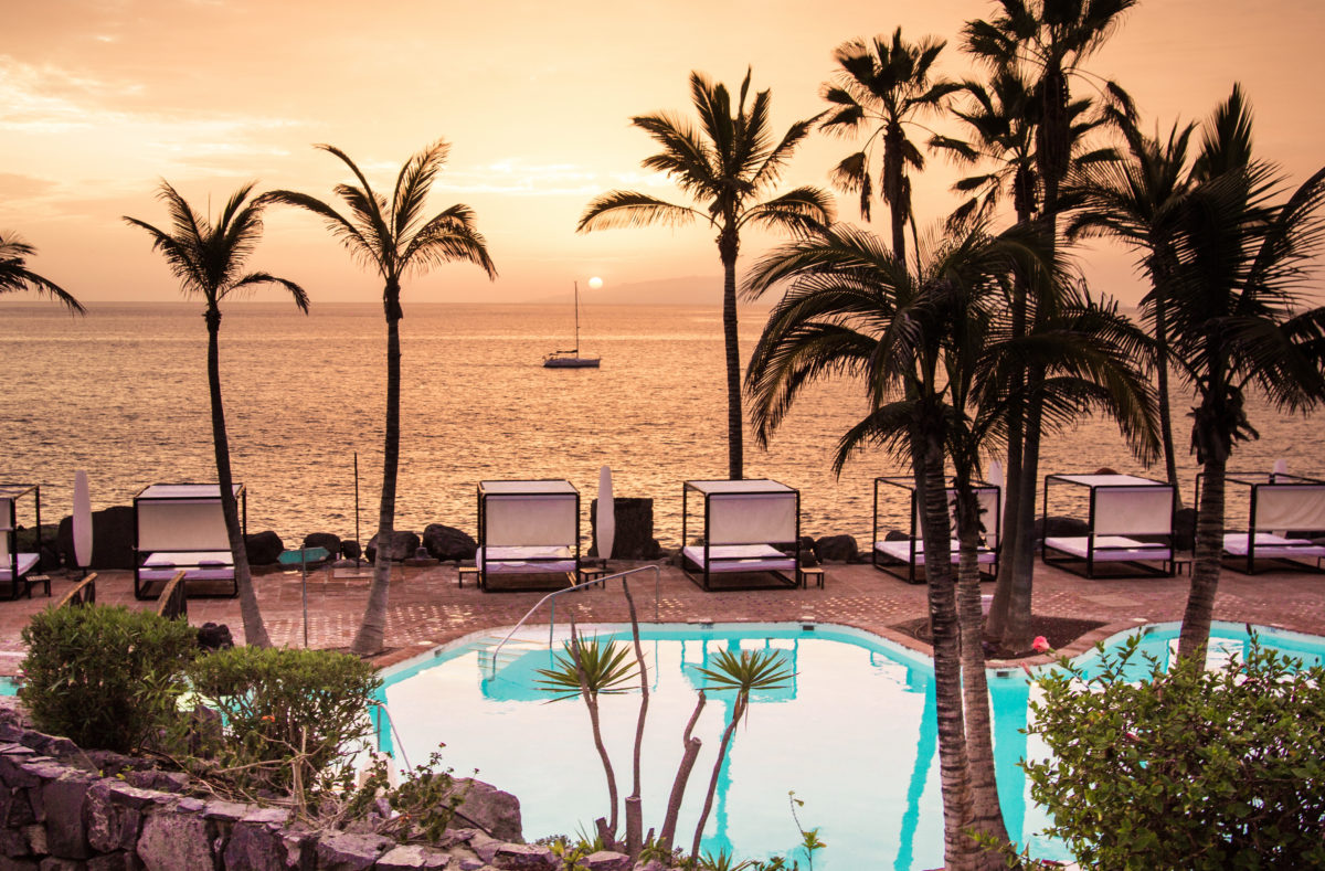 Jardin tropical le soir Tenerife