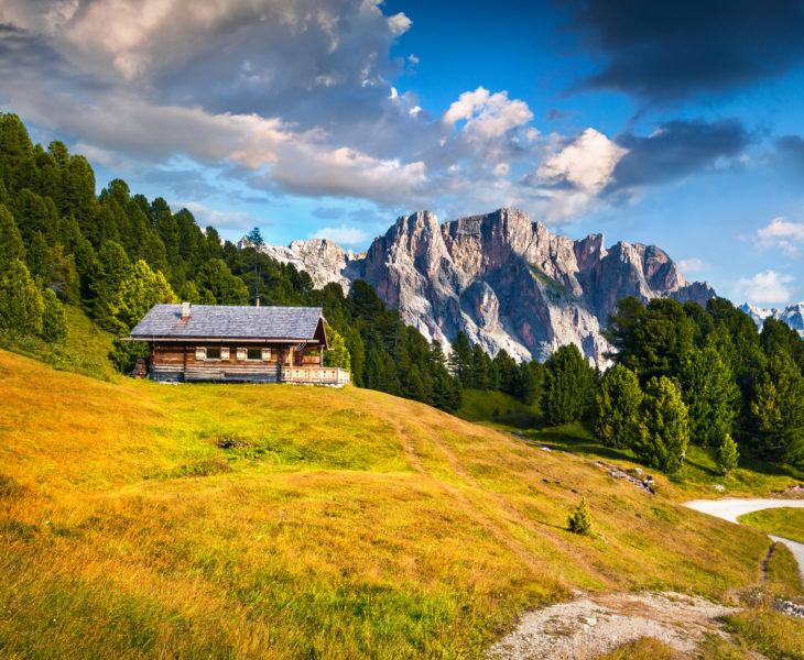 Paysage d'Ortisei dans les Dolomites