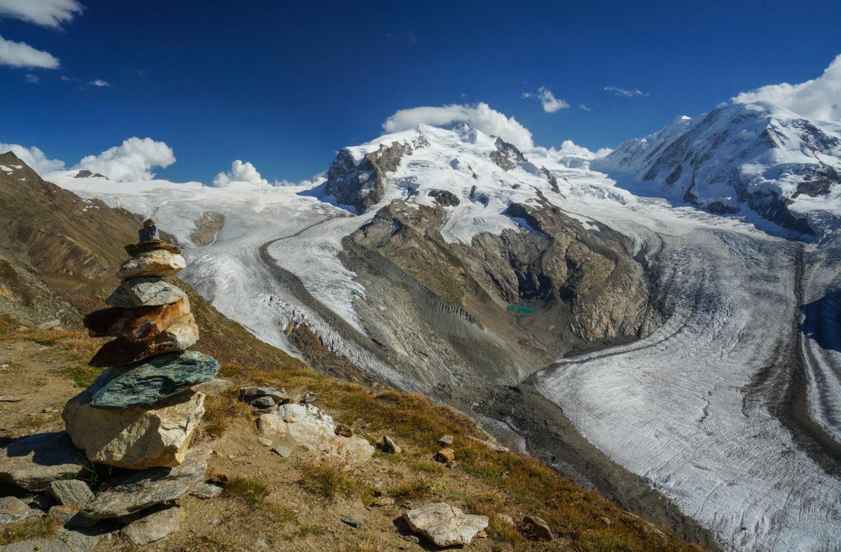 Glaciers de Gorner et de Border autour du Monte Rosa à Gornergrat à Zermatt