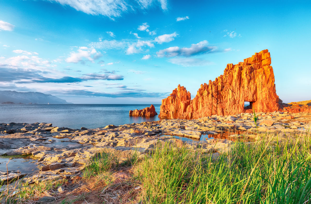 Coucher de soleil de Red Rocks, Rocce Rosse, à Arbatax en Sardaigne